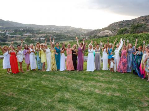 Hens night in grecian style on winery